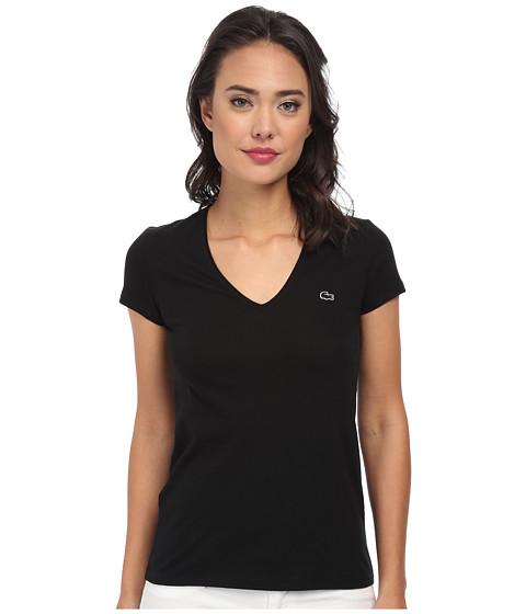Lacoste - Short Sleeve Classic V-Neck Tee (Black) Women's T Shirt