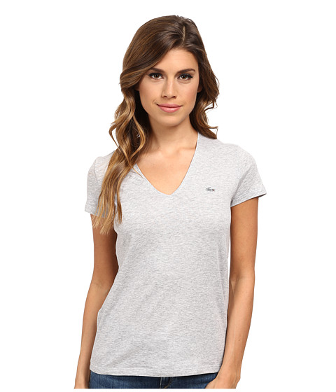 Lacoste - Short Sleeve Classic V-Neck Tee (Silver Grey Chine) Women's T Shirt