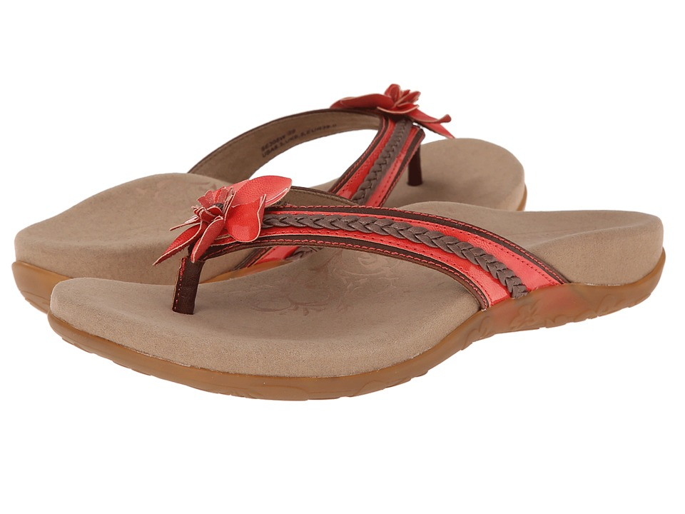 Aetrex - Selena Thong Sandal (Coral) Women's Toe Open Shoes