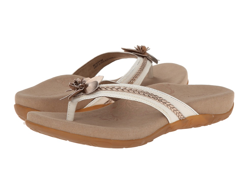 Aetrex - Selena Thong Sandal (Cream) Women's Toe Open Shoes