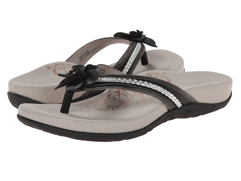 Aetrex - Selena Thong Sandal (Black) Women's Toe Open Shoes