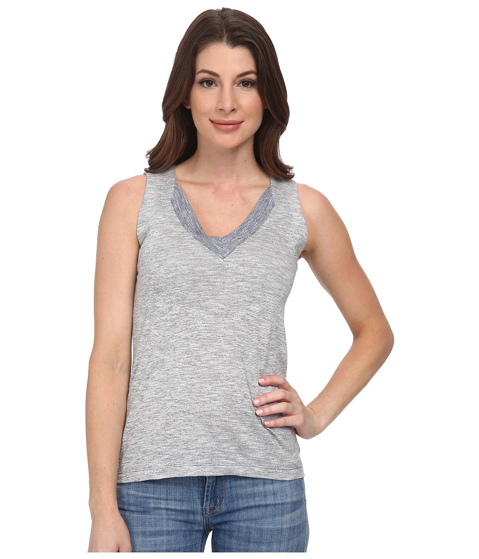 Lacoste - Sleeveless Color Block Slubbed Jersey V-Neck Tank Top (Philippines Blue/Flour) Women