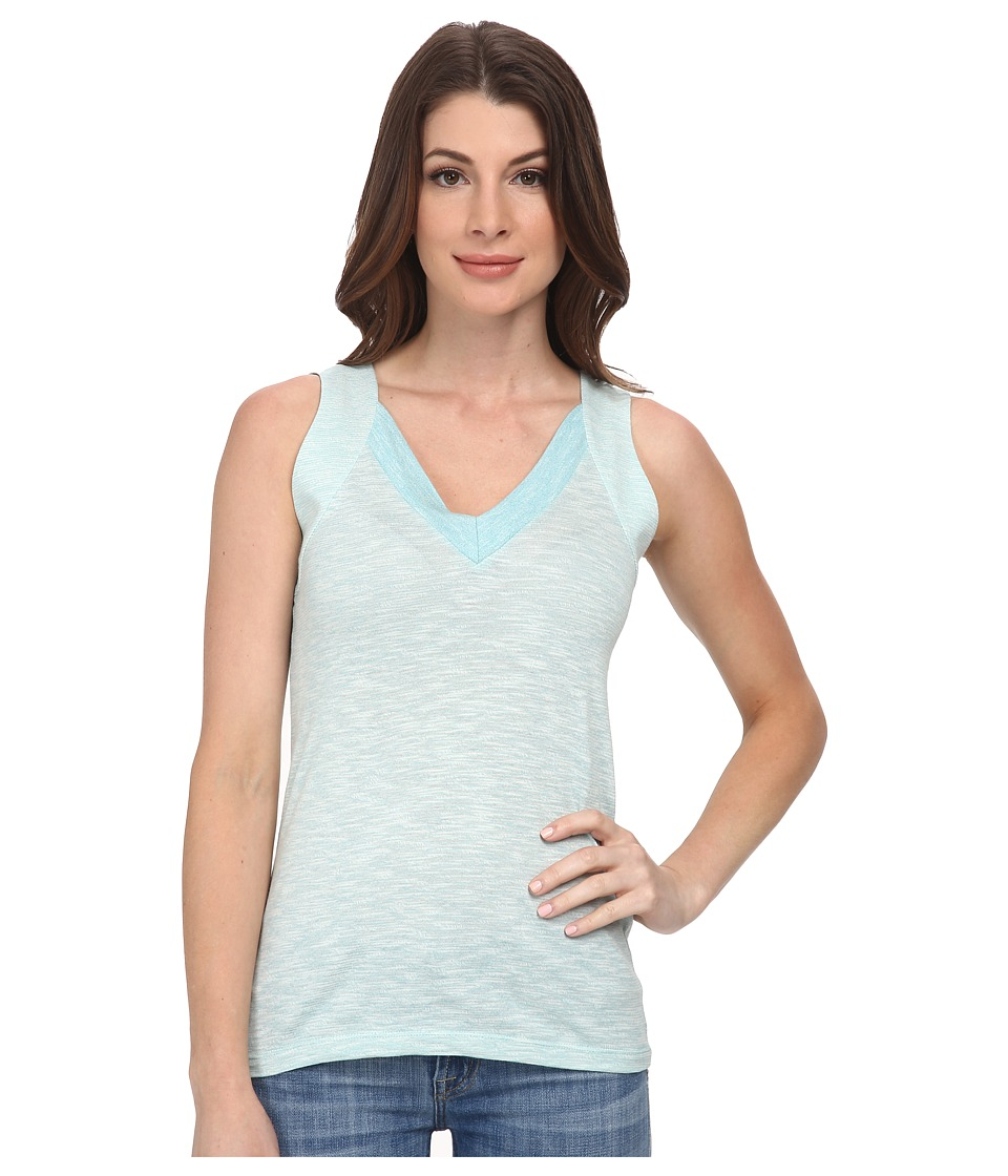 Lacoste - Sleeveless Color Block Slubbed Jersey V-Neck Tank Top (Corsica Aqua/Flour) Women