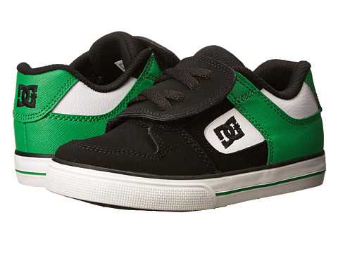 DC Kids - Pure V (Toddler) (Black/White/Green) Boys Shoes