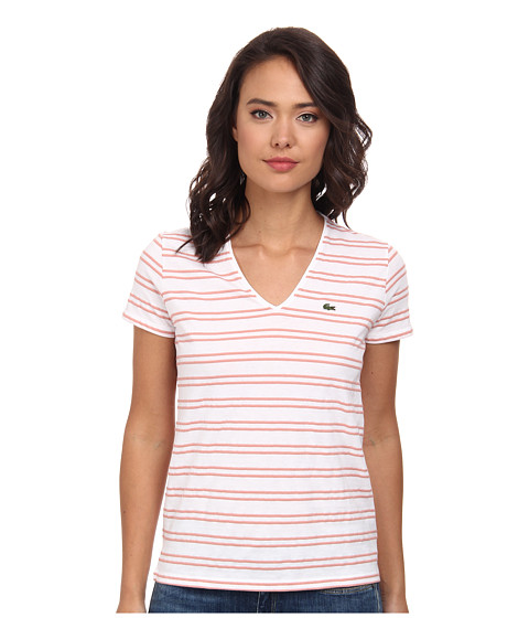 Lacoste - Short Sleeve Textured Stripe Cotton V-Neck Tee (White/Trianon Pink) Women's T Shirt