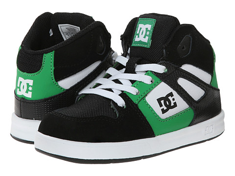 DC Kids - Rebound UL (Toddler) (Black/White/Emerald) Boys Shoes
