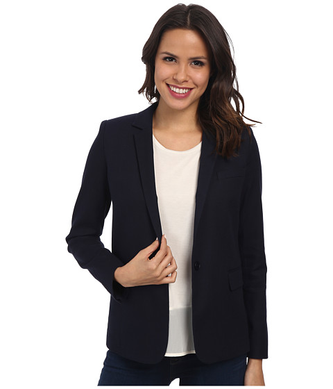 Lacoste - Long Sleeve Stretch Pique Blazer (Navy Blue) Women's Jacket