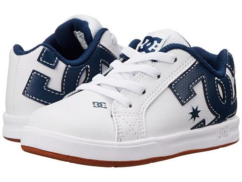 DC Kids - Court Graffik Elastic UL (Toddler) (White/Navy) Boys Shoes