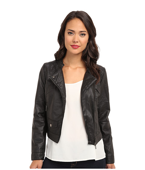 dollhouse - Asymmetric Zip Moto w/ Perforated Side Panels (Black) Women's Coat