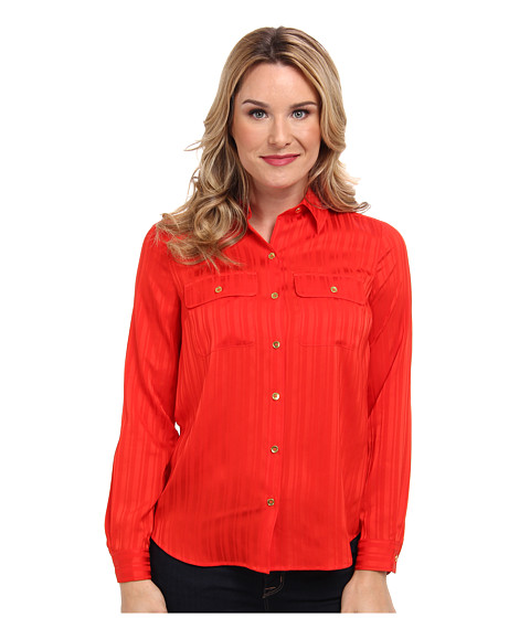 Jones New York - Utility Pocket Shirt w/ Center Front Pleat (Fire Red) Women's Long Sleeve Button Up
