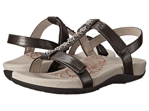 Aetrex - Molly Adjustable T-Strap (Black) Women