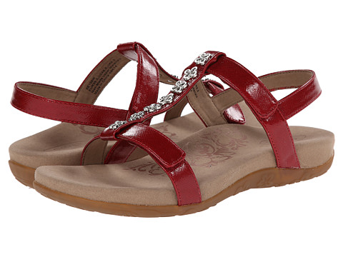 Aetrex - Molly Adjustable T-Strap (Red) Women's Dress Sandals