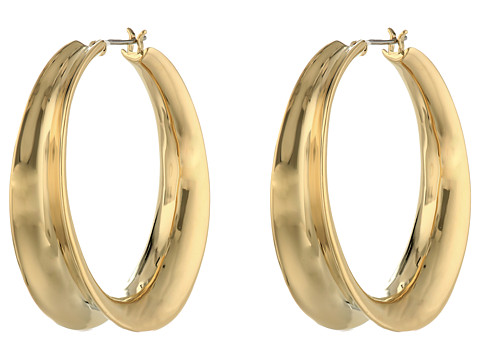 LAUREN by Ralph Lauren - Silver Lining 38mm Concave Clickit Hoop Earrings (Gold) Earring