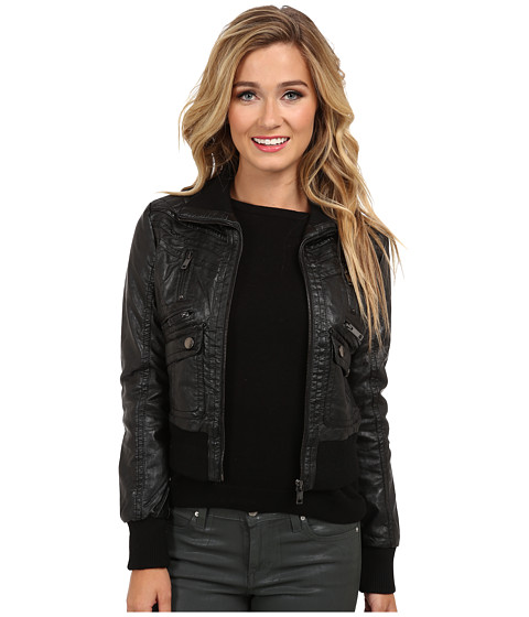 dollhouse - Multi Quilted Zip Bomber w/ Zip Up Knit Collar Trim (Black) Women's Coat