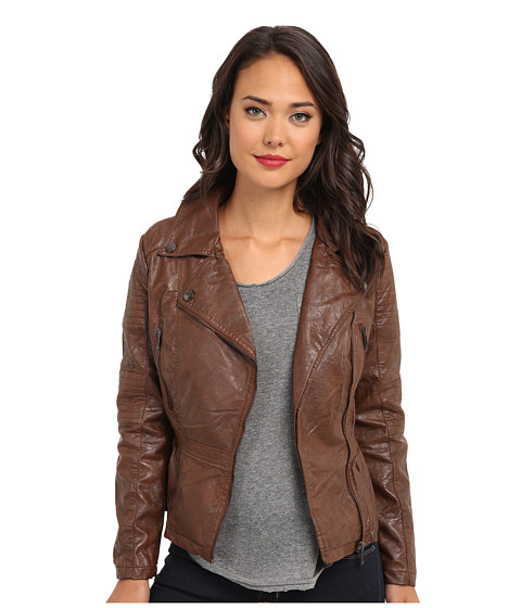 dollhouse - Asymmetric Zip 3/4 Moto w/ Peplum Bottom Quilted Patches (Cognac) Women