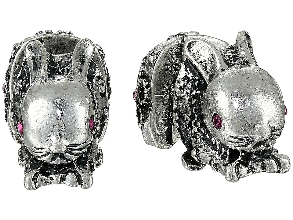 Betsey Johnson - BJ's Menagerie Silver Bunny Front Back Stud Earrings (Crystal) Earring