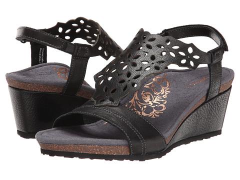 Aetrex - Francesca Wedge Sandal (Black) Women's Wedge Shoes