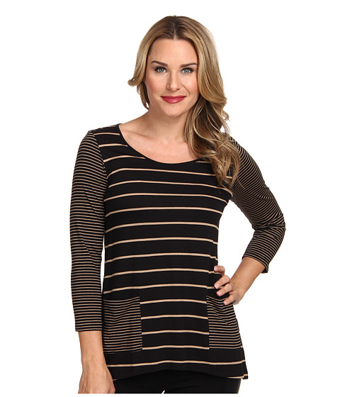 Jones New York - Stripe Patch Pocket Top (Black/Camel) Women's Clothing