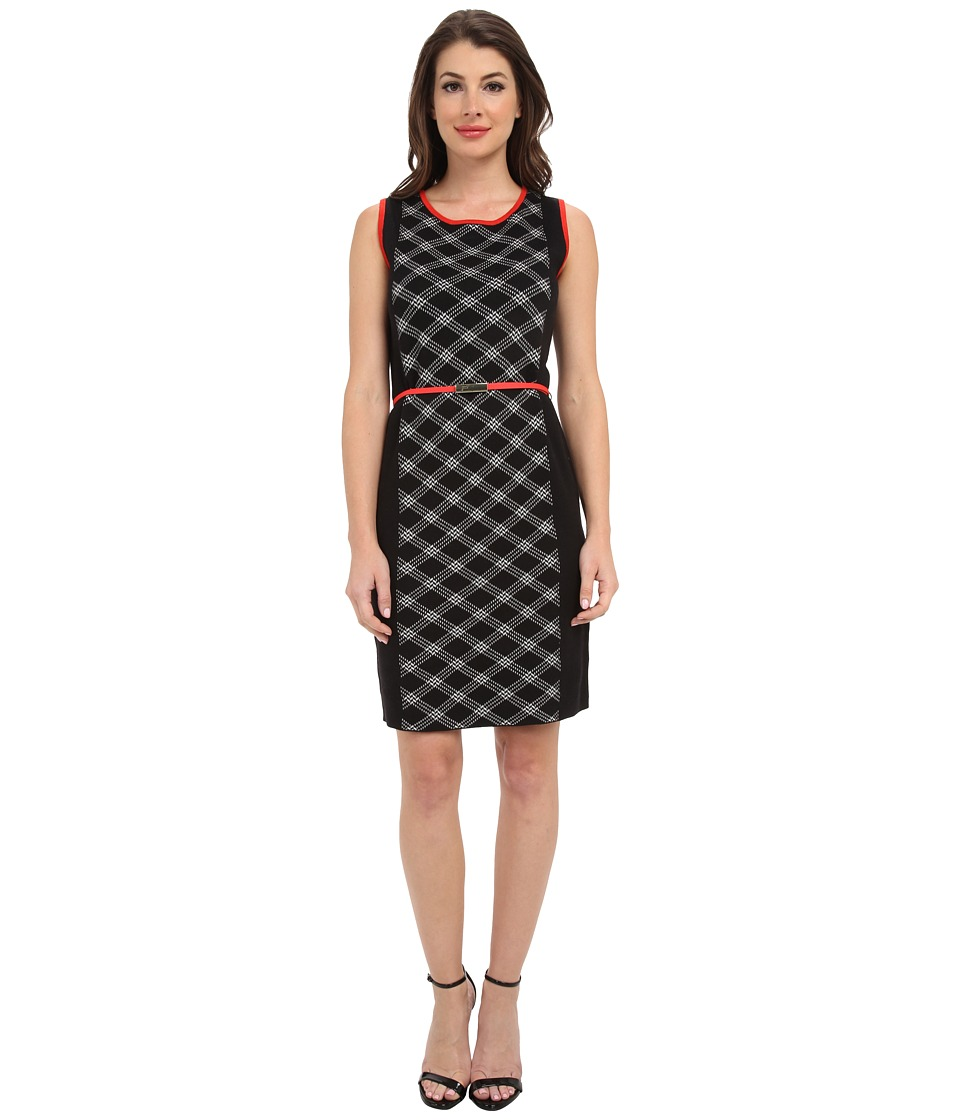 Jones New York - Sleeveless Crew Neck Dress (Black Multi) Women
