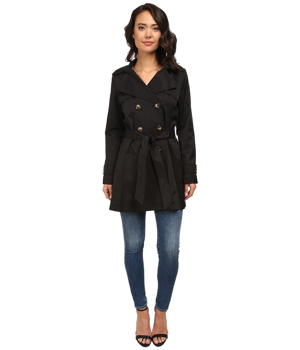 DKNY - Double-Breasted Short Hooded Trench Coat (Black) Women's Coat
