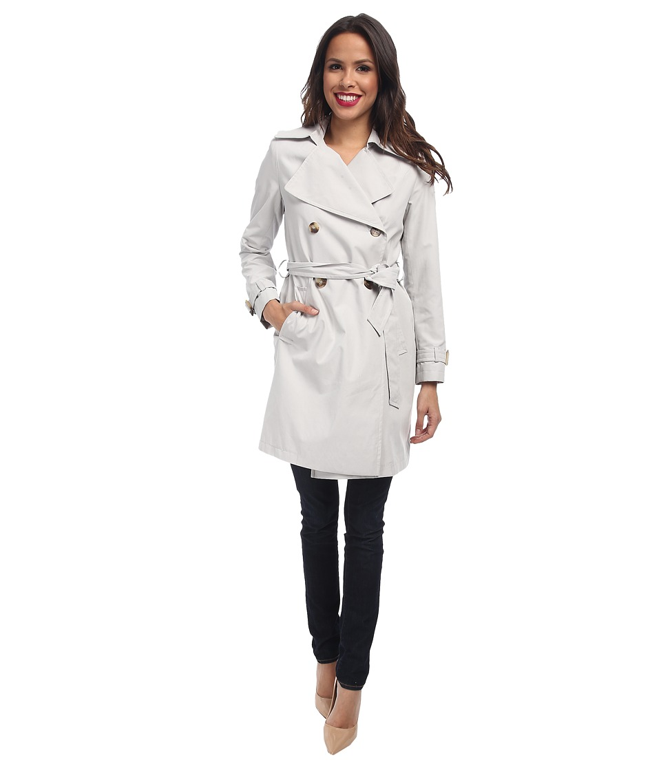 DKNY - Double-Breasted Soft Trench Coat (Light Grey) Women's Coat