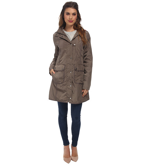 DKNY - Hooded Topper with Grosgrain Taping (Dusty Olive) Women's Coat