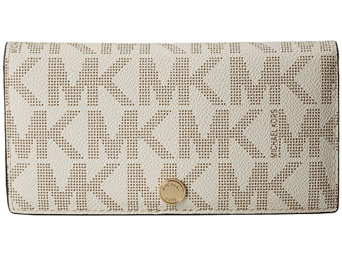 MICHAEL Michael Kors - Jet Set Travel LG Slim Wallet (Vanilla/Luggage) Bi-fold Wallet