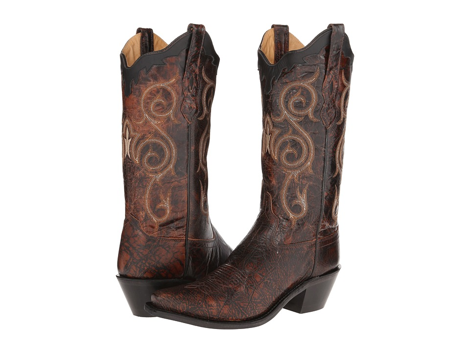 Old West Boots LF1581 (Dirty Reddish Brown/Black) Cowboy Boots
