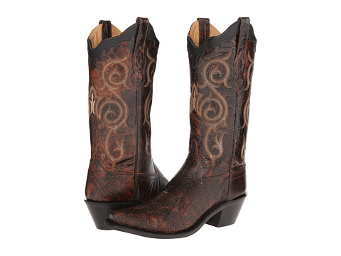 Old West Boots - LF1581 (Dirty Reddish Brown/Black) Cowboy Boots