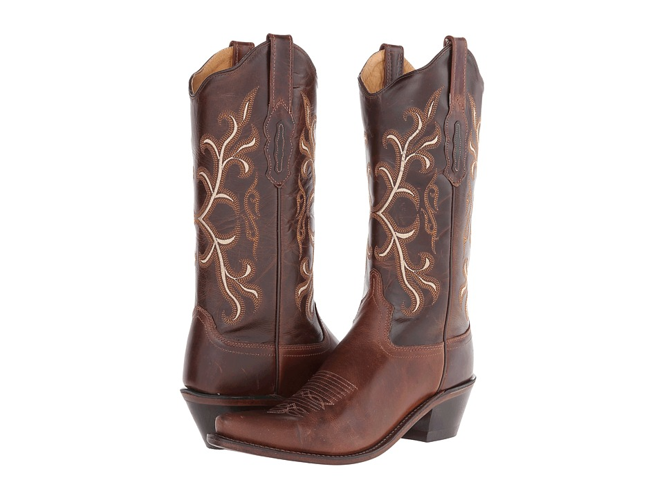Old West Boots - LF1571 (Brown/Dark Brown) Cowboy Boots