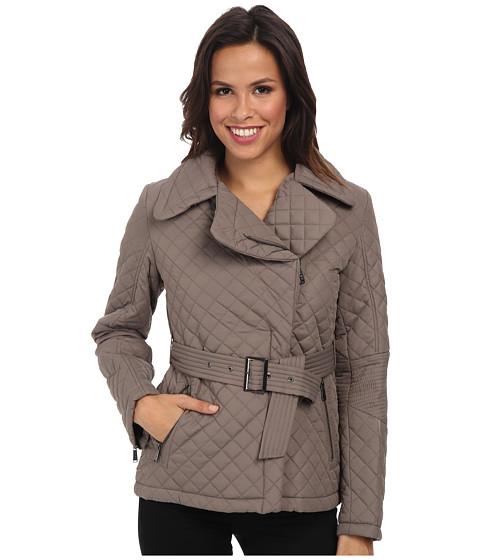 DKNY - Short Belted Quilt Coat (Peat) Women's Coat
