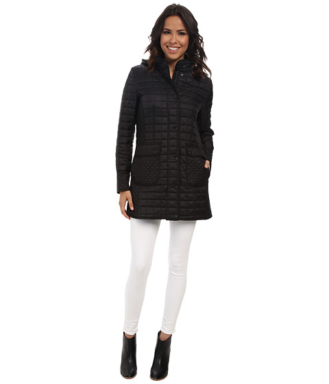 DKNY - 3/4 Hooded Coat (Black) Women's Coat