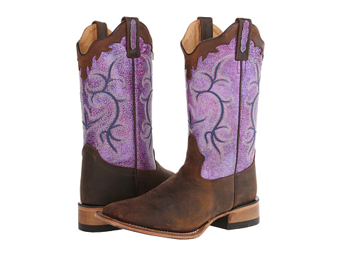Old West Boots - 18102 (Brown Oily/Purple) Cowboy Boots