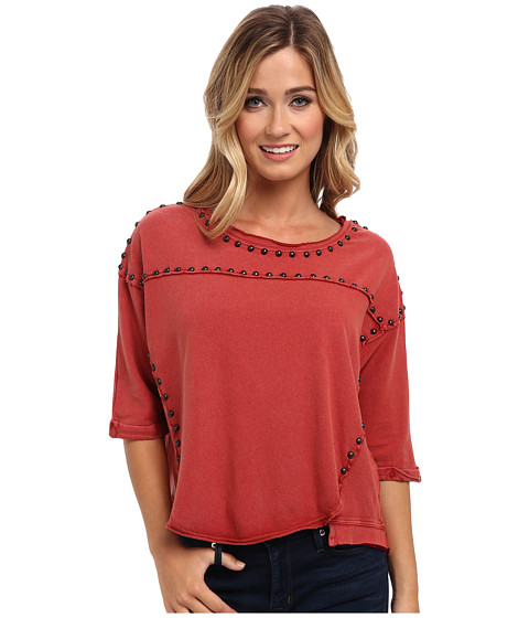 Free People - Dillon Studded Tee (Red Rust) Women