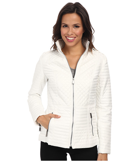 DKNY - Stand Collar Quilted Scuba Jacket (Off White) Women's Coat