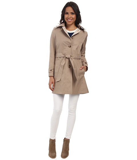 DKNY - Single Breasted Hooded Belted Trench Coat (Sand) Women's Coat