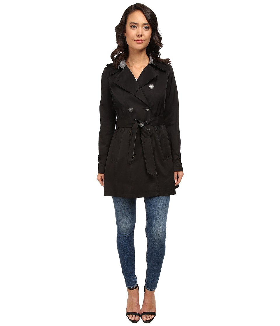 DKNY - Double Breasted Trench with Inverted Pleat (Black) Women's Coat