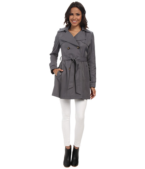 DKNY - Double-Breasted Short Hooded Trench Coat (Grey) Women's Coat