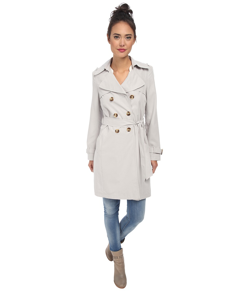 DKNY - Double Breasted Soft Trench (Light Grey) Women's Coat