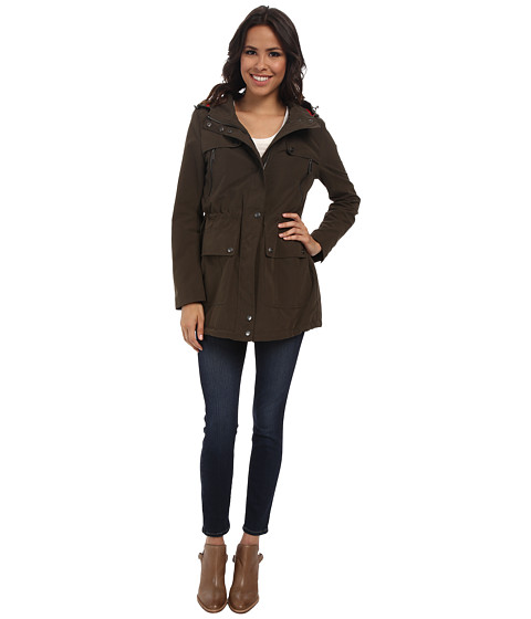 DKNY - Hooded Anorak with Contrast Hood (Dusty Olive) Women