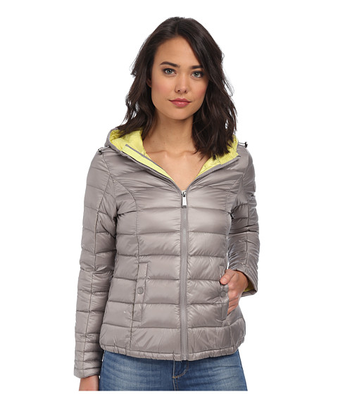 DKNY - Hooded Packable Down Jacket (Pale Grey/Yellow) Women's Jacket