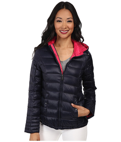 DKNY - Hooded Packable Down Jacket (Midnight/Primrose) Women
