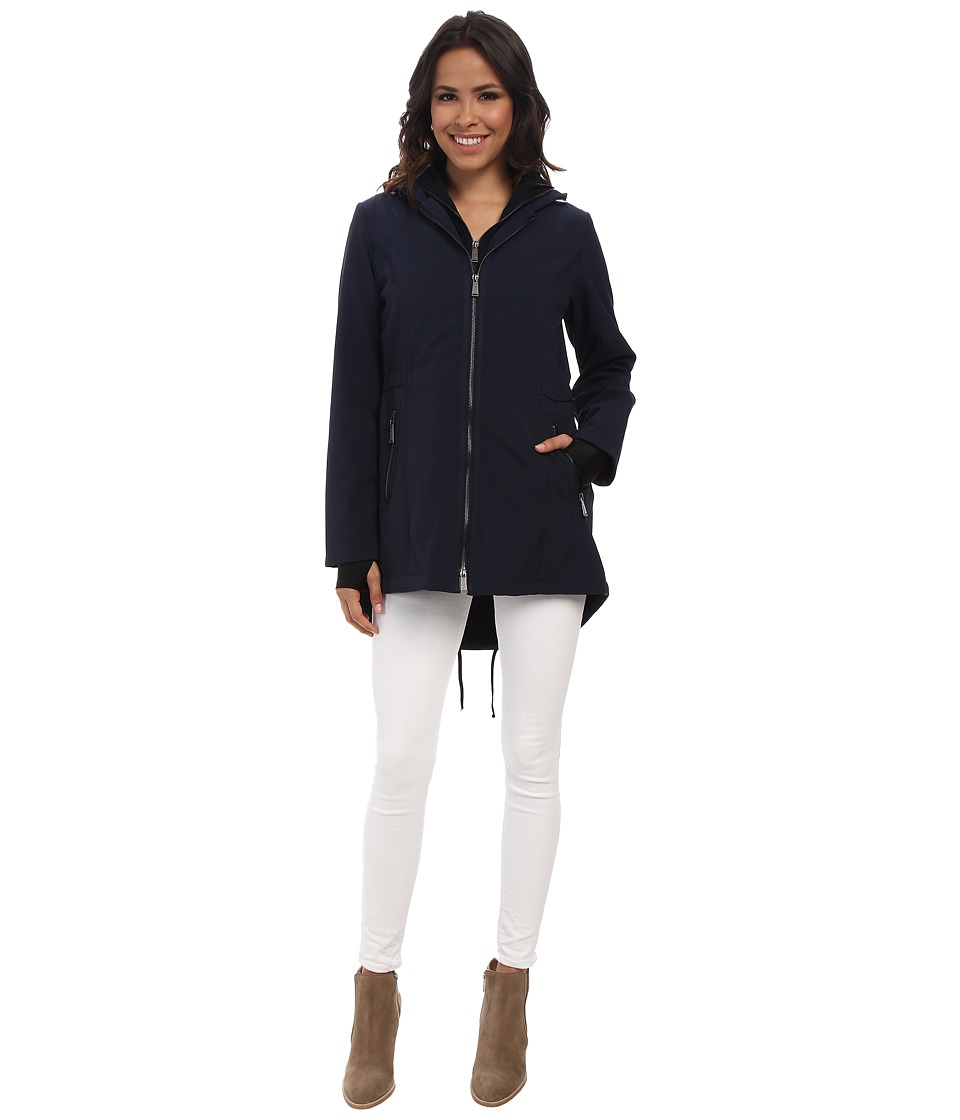 DKNY - Zip Front Anorak Jacket (Navy) Women's Coat