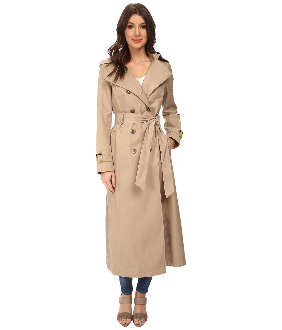 DKNY - Long Maxi Belted Trench with Hood (Sand) Women's Coat