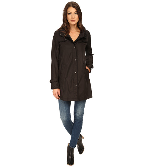 DKNY - Snap Front Topper with Zipper Details (Black) Women's Coat