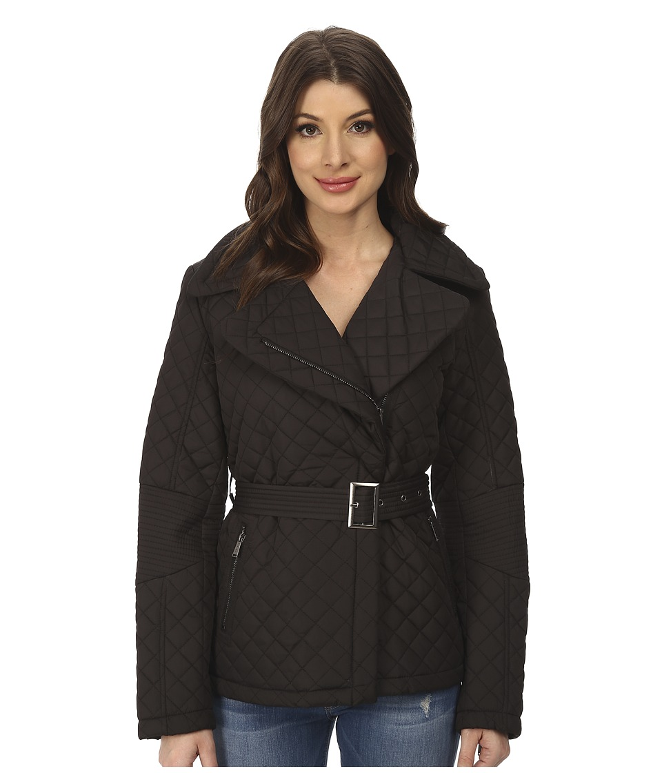 DKNY - Short Belted Quilt Coat (Black) Women's Coat plus size,  plus size fashion plus size appare