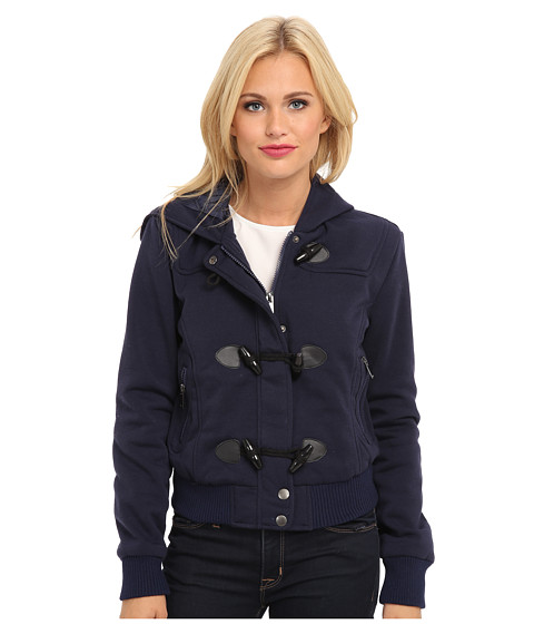 dollhouse - Hooded Zip Front Bomber w/ Knit Trim Toggles (Midnight Blue) Women's Coat