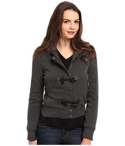 dollhouse - Hooded Zip Front Bomber w/ Knit Trim Toggles (Charcoal) Women's Coat