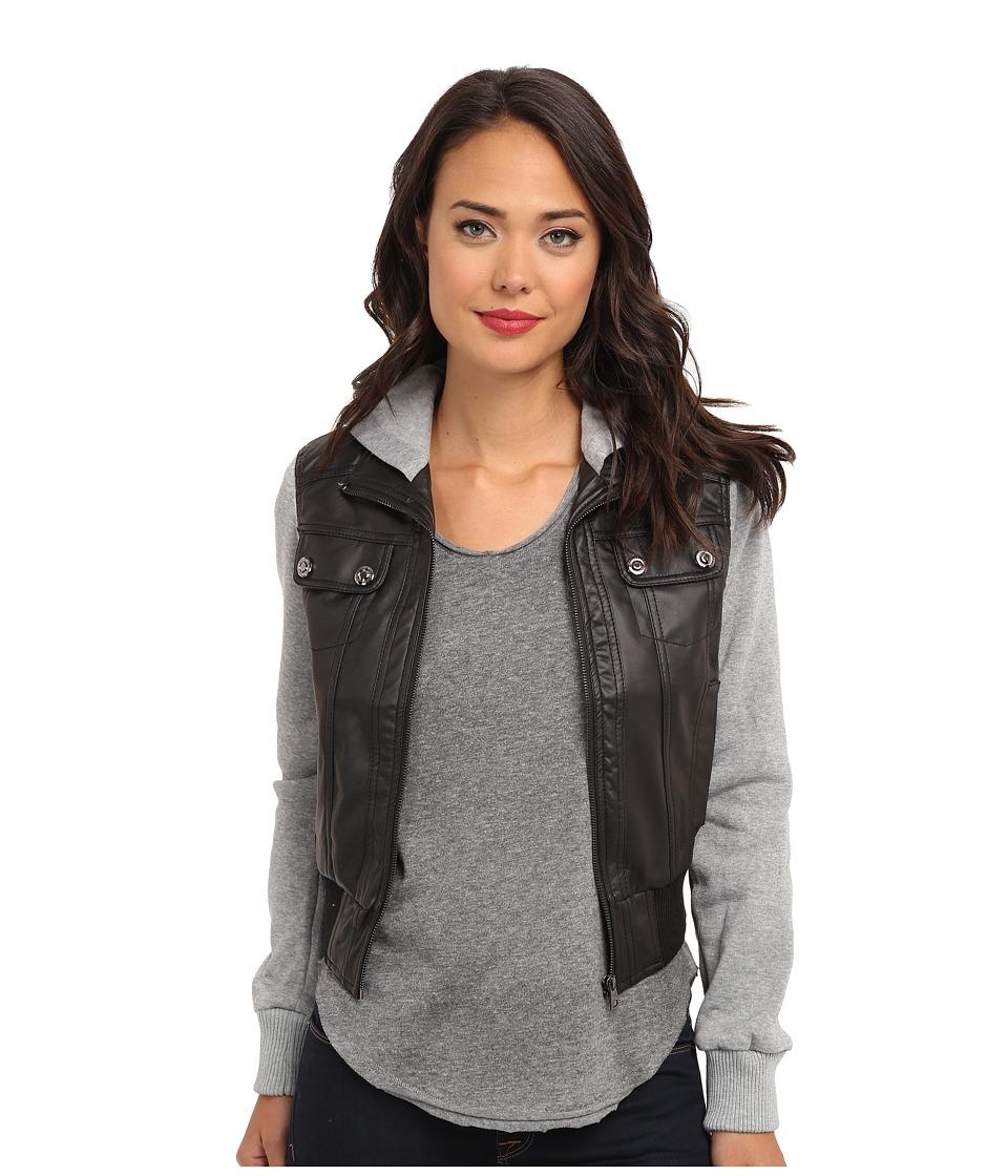 dollhouse - Zip Front Bomber w/ Knit Trim Button Off Hood (Black) Women's Coat