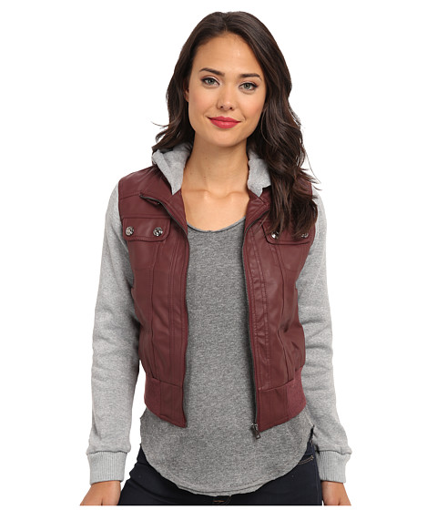 dollhouse - Zip Front Bomber w/ Knit Trim Button Off Hood (Brandy Wine) Women